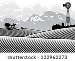 Silhouette Of Farmer Riding A...