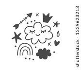 magic fairy tale kids print for ... | Shutterstock .eps vector #1229623213