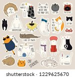 Stock vector set of cute funny stickers with color doodles of different cats with quotes isolated objects hand 1229625670