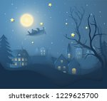 vector winter night landscape... | Shutterstock .eps vector #1229625700