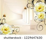 Stock photo  d illustration corridor light and shade beige background large white flowers two butterflies 1229647630