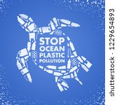 stop ocean plastic pollution.... | Shutterstock .eps vector #1229654893