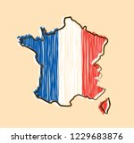 france map and flag in sketch... | Shutterstock .eps vector #1229683876
