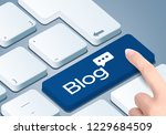 blog blogging keyboard key.... | Shutterstock . vector #1229684509