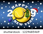 happy new year 2019 and tennis... | Shutterstock .eps vector #1229685469
