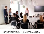 mature businesswoman addressing ... | Shutterstock . vector #1229696059