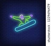 snowboarder neon sign. man... | Shutterstock .eps vector #1229696479