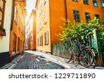 beautiful street with colorful... | Shutterstock . vector #1229711890