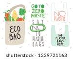 """go to zero waste""  ""no plastic""... | Shutterstock .eps vector #1229721163"