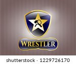 gold shiny badge with... | Shutterstock .eps vector #1229726170
