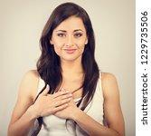 beautiful woman in love holding ...   Shutterstock . vector #1229735506
