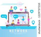 social media concept. young... | Shutterstock .eps vector #1229737210