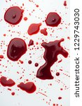 top view of messy blood... | Shutterstock . vector #1229743030