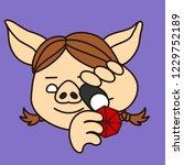 emoji with pig woman jeweller...   Shutterstock .eps vector #1229752189