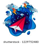 origami paper plane toy flying... | Shutterstock .eps vector #1229752480