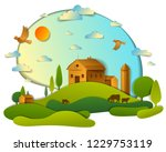 scenic landscape of farm...   Shutterstock .eps vector #1229753119