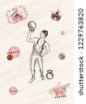 vector card design. strongman... | Shutterstock .eps vector #1229763820
