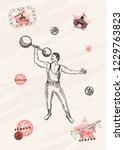 vector card design. strongman... | Shutterstock .eps vector #1229763823