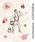 vector card design. strongman... | Shutterstock .eps vector #1229763826