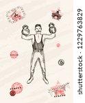 vector card design. strongman... | Shutterstock .eps vector #1229763829