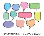 vector bubbles speech set. hand ...   Shutterstock .eps vector #1229771620