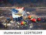 jar of homemade granola with...   Shutterstock . vector #1229781349