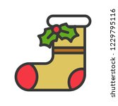 sock and mistletoe cute...   Shutterstock .eps vector #1229795116