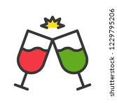 wine glass cheers  cute...   Shutterstock .eps vector #1229795206