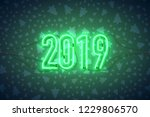 happy new year with neon sign... | Shutterstock .eps vector #1229806570