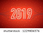 happy new year with neon sign... | Shutterstock .eps vector #1229806576