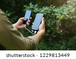 tourist with smartphone and... | Shutterstock . vector #1229813449