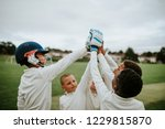 group of young cricketers doing ... | Shutterstock . vector #1229815870