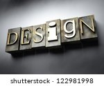 Design concept, 3d vintage letterpress text - stock photo