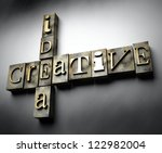 Creative idea concept, 3d vintage letterpress text - stock photo