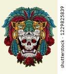 skul warrior aztec jaguar | Shutterstock .eps vector #1229825839