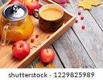 hot sea buckthorn tea drink...   Shutterstock . vector #1229825989