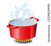 red pan  saucepan  pot ... | Shutterstock .eps vector #1229829490