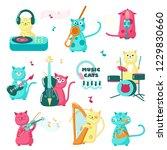 cute music cats. vector...   Shutterstock .eps vector #1229830660