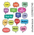 vector bubbles speech set. hand ... | Shutterstock .eps vector #1229831740