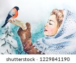 watercolor christmas greeting... | Shutterstock . vector #1229841190