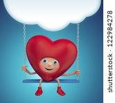 Happy Cute Funny Heart Cartoon...