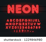 set of neon letters  numbers... | Shutterstock .eps vector #1229846980