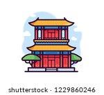 buddhist temple vector... | Shutterstock .eps vector #1229860246