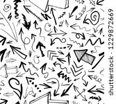 hand drawn arrows seamless...   Shutterstock . vector #1229872669