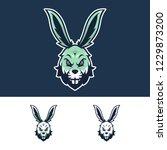 angry rabbit head mascot logo   Shutterstock .eps vector #1229873200