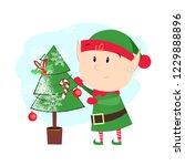 cartoon christmas elf postcard... | Shutterstock .eps vector #1229888896