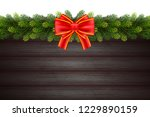christmas gift card with wood... | Shutterstock .eps vector #1229890159
