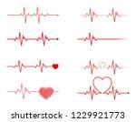heart rhythm set ... | Shutterstock .eps vector #1229921773