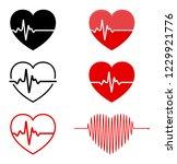 heart and  ecg   ekg signal set ... | Shutterstock .eps vector #1229921776