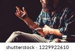 man stropping straight razor...   Shutterstock . vector #1229922610